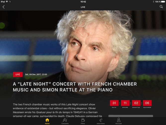 Digital Concert Hall App iPad