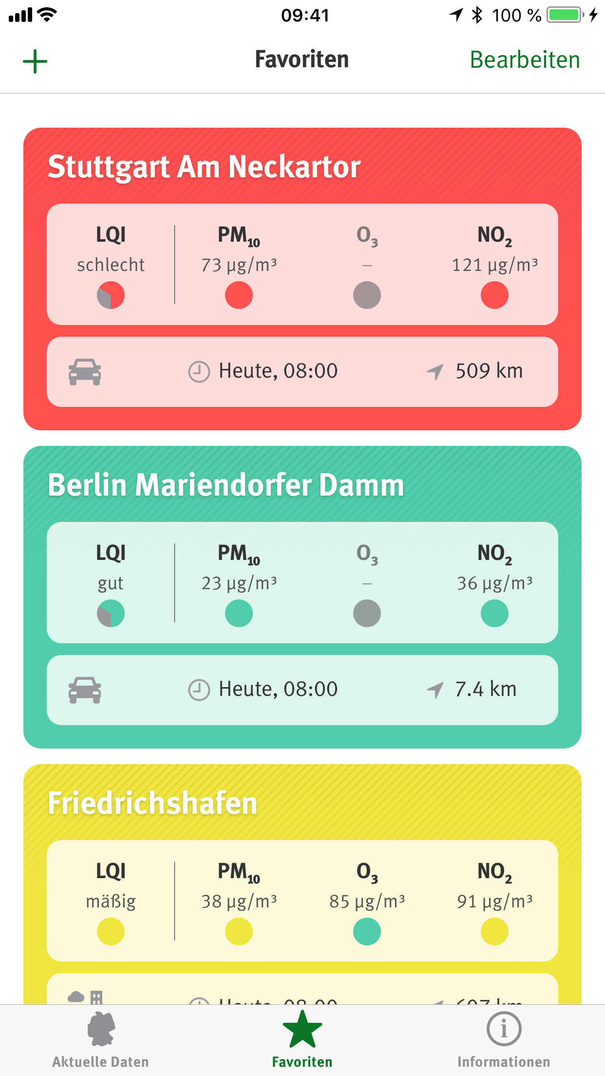 UBA Luftqualität App – Favoriten